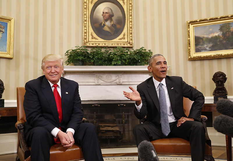 FILE - President Barack Obama meets with President-elect Donald Trump in the Oval Office of the White House in Washington, on Thursday, November 10, 2016. Photo: AP