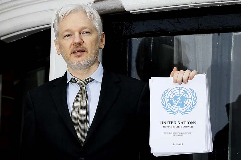 File-WikiLeaks founder Julian Assange speaks on the balcony of the Ecuadorean Embassy in London on this February 5, 2016. Photo: AP