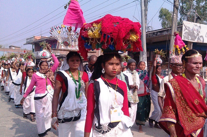 FILE - Women of Tharu community take out a cultural procession on the eve of Maghi festival, in Inaruwa of Sunsari district, on  Friday, January 13, 2017. Photo: RSS