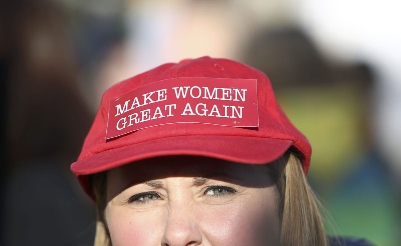 A protester takes part in the Women's March on London, as they walk from the American Embassy to Trafalgar Square, in central London, Britain, on January 21, 2017. The march formed part of a worldwide day of action following the election of Donald Trump to US President. Photo: Reuters