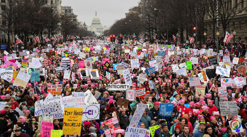 Hundreds of thousands march down Pennsylvania Avenue in Washington, DC, US, during the Women's March on January 21, 2017. Photo: Reuters
