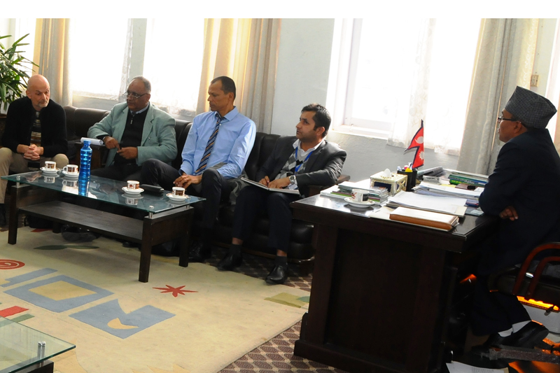 Ministry of Agricultural Development Secretary Suroj Pokharel (right) holds a meeting with a World Bank team, in Kathmandu, on Monday, January 9, 2017. Photo: PACT