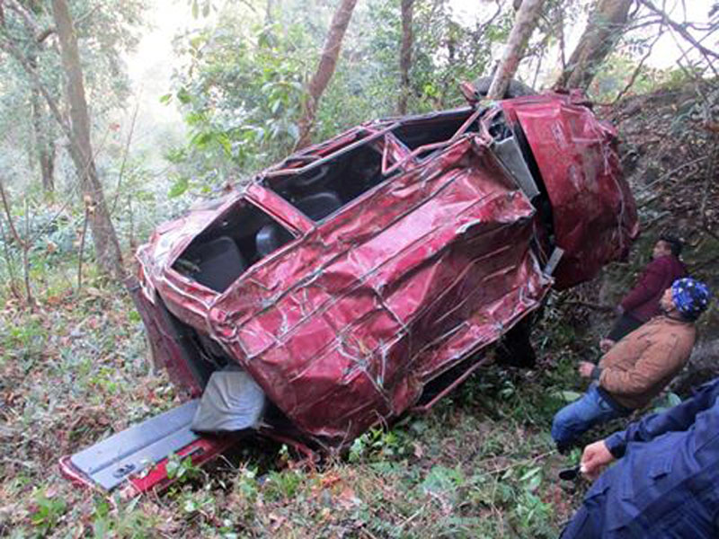 Wreckage of a taxi is seen after an accident in Phidim of Panchthar district on Saturday, January 14, 2017. Photo: Laxmi Gautam