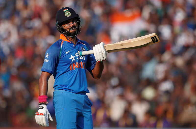 India's Yuvraj Singh celebrates after scoring a century. Photo: Reuters