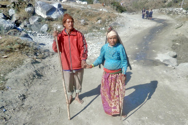 A differently able couple help each other to live daily life in Beni Municipality of Myagdi district, on Monday, January 30, 2017. Photo: RSS