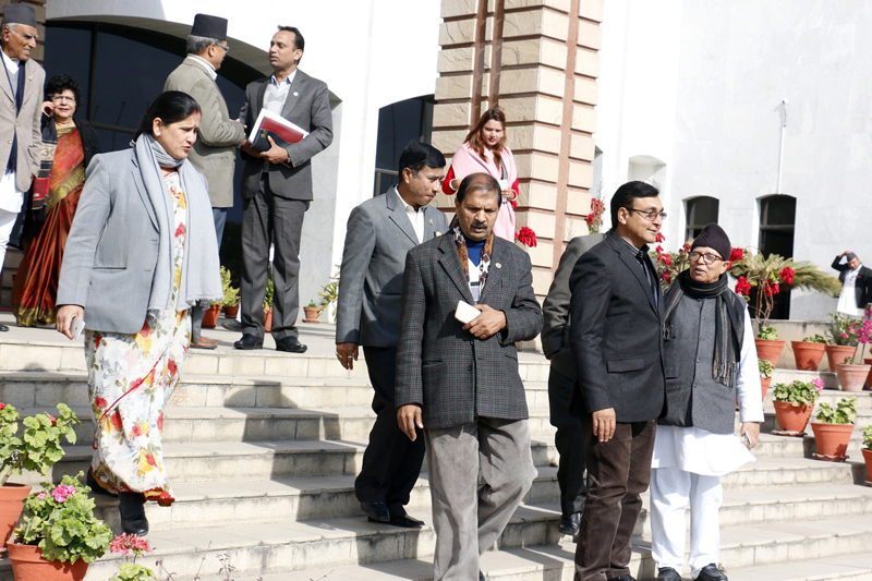 FILE: Lawmakers of various parties emerge from the Parliament building after the House meeting was adjourned today, in Kathmandu, on Monday, January 2, 2017. Photo: RSS