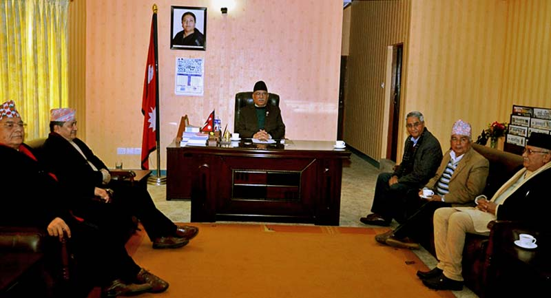 Leaders of the major three political parties--CPN Maoist Centre, Nepali Congress and CPN-UML--in a meeting held at Singhadurbar in Kathmandu, on Monday, January 2, 2016. Photo: PM's Secretariat