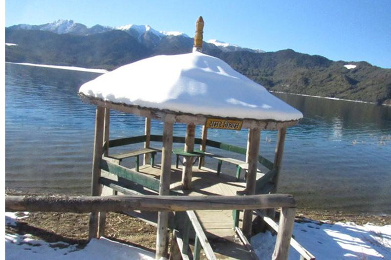 A view of Rara Lake after a Friday snowfall, in Mugu district, on Saturday, January 28, 2017. Photo: RSS
