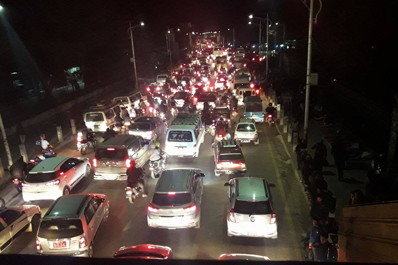 Vehicles stuck in a traffic congestion in front of the Bir Hospital in Kathmandu, on Thursday, January 5, 2017. Traffic movement in the Valley was disturbed this afternoon owing to a motorbike rally organised by opposition parties. Photo: Nasana Bajracharya