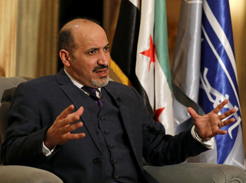 Ahmad Jarba, former head of the opposition National Coalition for Syrian Revolutionary and Opposition Forces, and currently the leader and the founder of Alghad Alsoury Current (The Syrian Tomorrow Current), speaks during an interview with Reuters in Cairo, Egypt, on January 29, 2017. Photo: Reuters