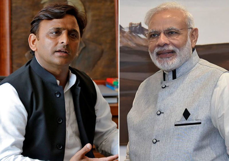 Akhilesh Yadav(left) and Narendra Modi