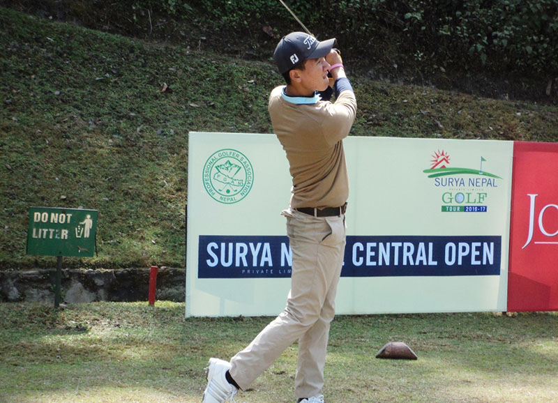 Amateur golfer Tenzing Tsering plays a shot on the first day of the Surya Nepal Central Open at the Gokarna Golf Club on Monday, February 20, 2017. Photo: THT