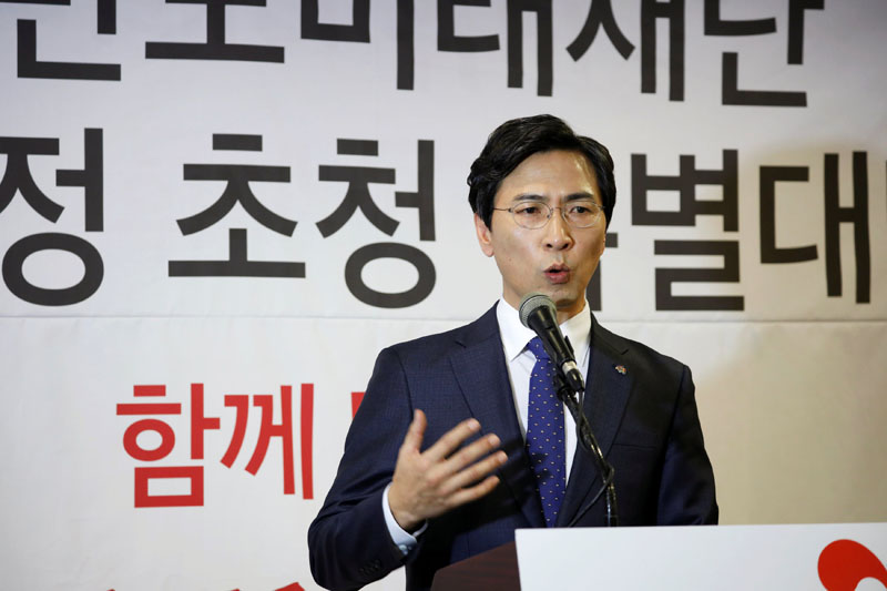 An Hee-jung, a candidate for the upcoming South Korean presidential election, speaks during a debate in Seoul, South Korea, on February 8, 2017. Photo: Reuters