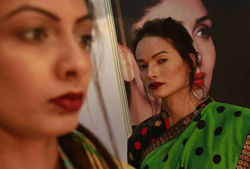 Anjali Lama stands backstage at the Lakme Fashion week in Mumbai, India, on February 2, 2017. Photo: AP