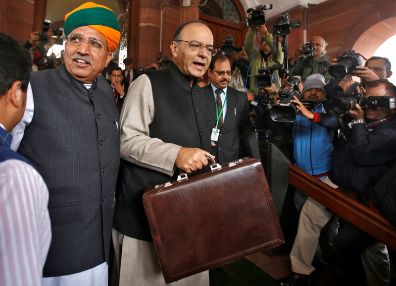 India's Finance Minister Arun Jaitley (centre) arrives at the parliament where he is due to present the federal budget, in New Delhi, India, on February 1, 2017. Photo: Reuters