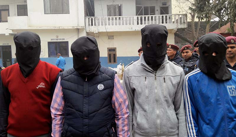 Suspects of the December twin murders in Bara being paraded by Nepal Police in Bara on Tuesday, February 7, 2017. Photo: Ram Sarrafn