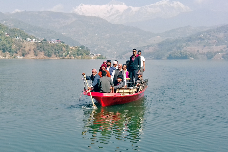 Tourists are seen enjoying a boat ride at the Begnas Lake in Lekhanath of Kaski district, on Thursday, February 23, 2017. Photo: RSS