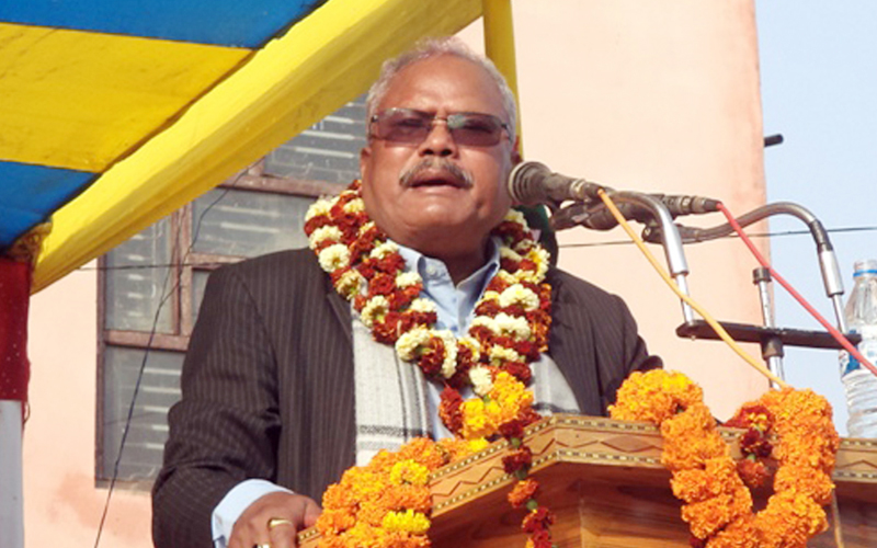 Madhesi Janadhikar Forum democratic chairman Bijaya Kumar Gachhadar speaks at a programme in Rajbiraj of Saptari district, on Friday, February 3, 2017. Photo: RSS