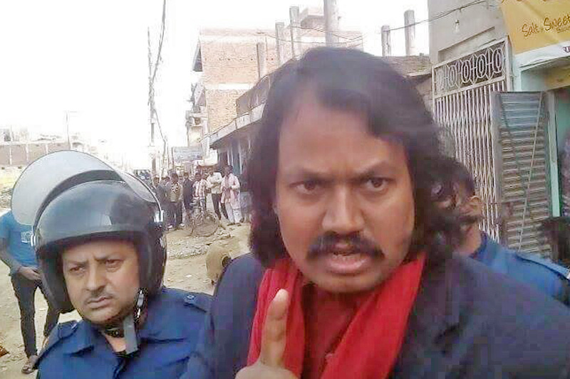 CK Raut reacts after being detained from Janakpur on Thursday, February 2, 2017. Photo: Brijkumar Yadav
