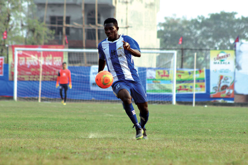 CMG Club Sankata's Kone Moussa dribbles the ball during their 19th Tilottama Gold Cup match against Nepal APF Club at the ANFA Technical Centre grounds, in Butwal, on Monday, February 27, 2017. Photo Courtesy: Manoj Thapa