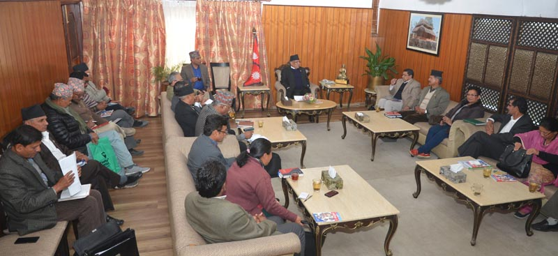 The CPN Maoist Centre Headquarters meeting in Kathmandu, on Thursday, February 16, 2017. Photo: Dahal Secretariat