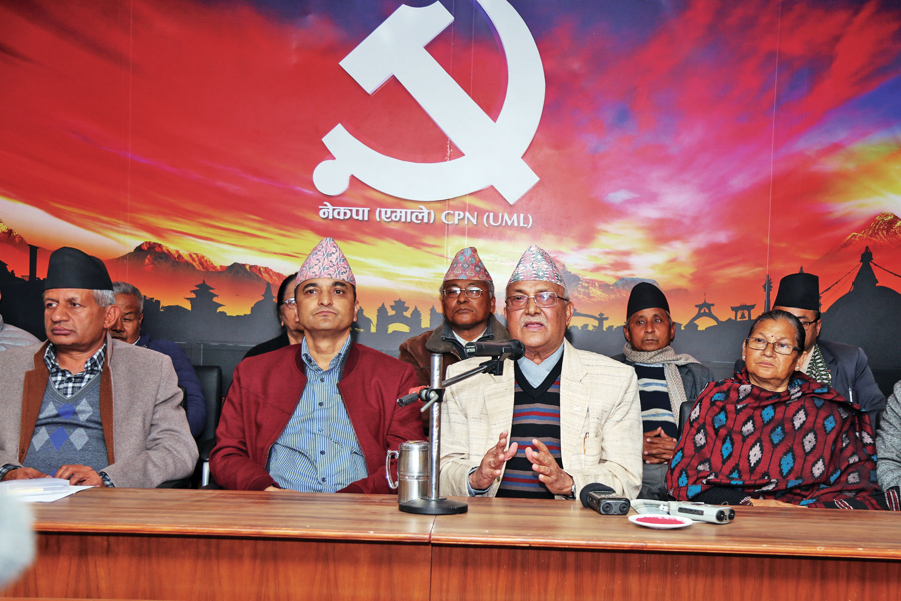 CPN-UML Chair KP Sharma Oli informs about the party's Mechi-Mahakali campaign at the UML party office, in Dhumbarahi, Kathmandu, on Wednesday, February 1, 2017. Photo: THT