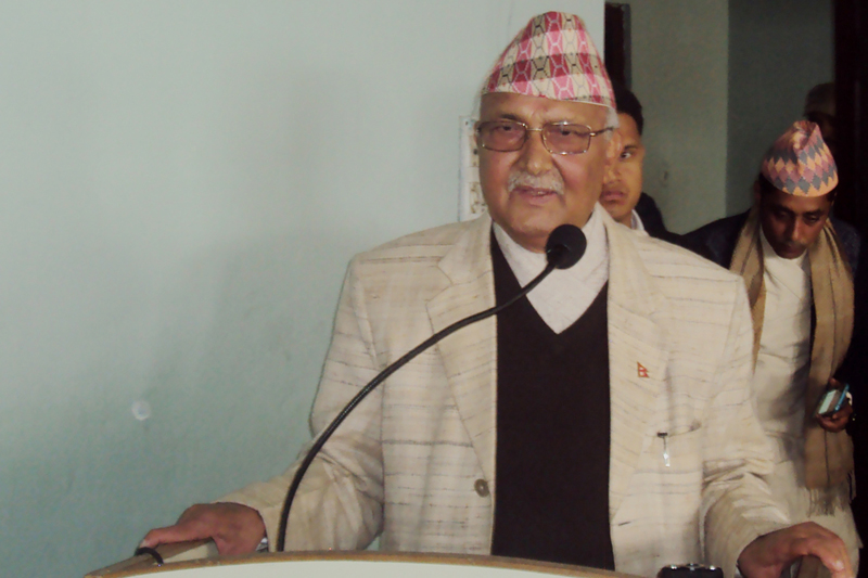 CPN-UML Chairman KP Sharma Oli addresses a function in Biratnagar of Morang district on Saturday, February 4, 2017. Photo: RSS