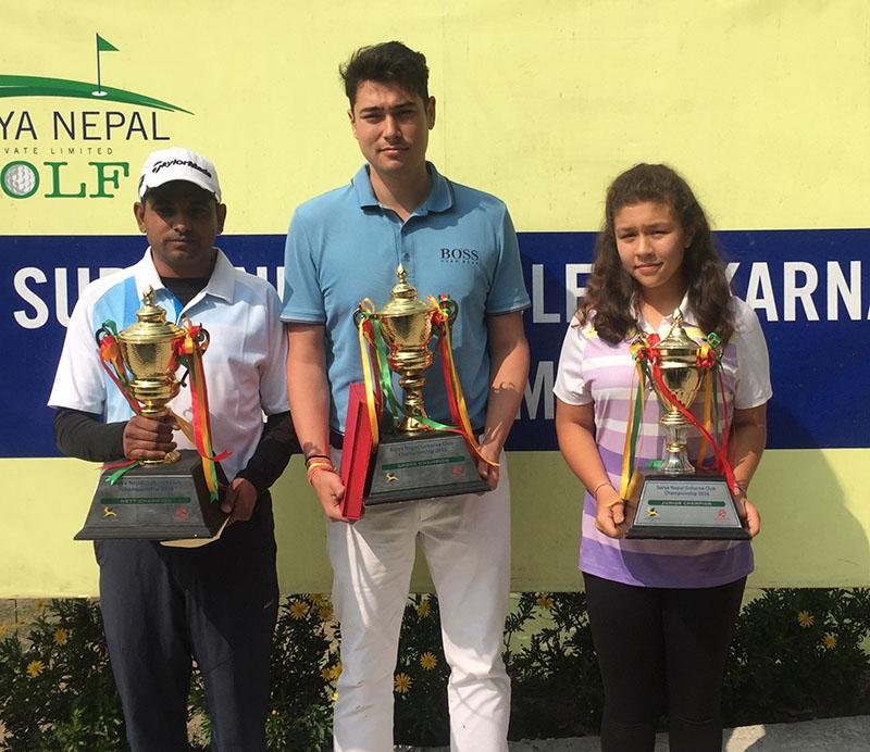 (From left) Rabindra Tiwari, Vijay Shrestha Einhaus and Devasri Rana hold the trophies after winning the Club Championship titles of the Surya Nepal Gokarna Monthly Medal at the Gokarna Golf Club in Kathmandu on Saturday, February 18, 2017. Photo courtesy: Gokarna Golf Club