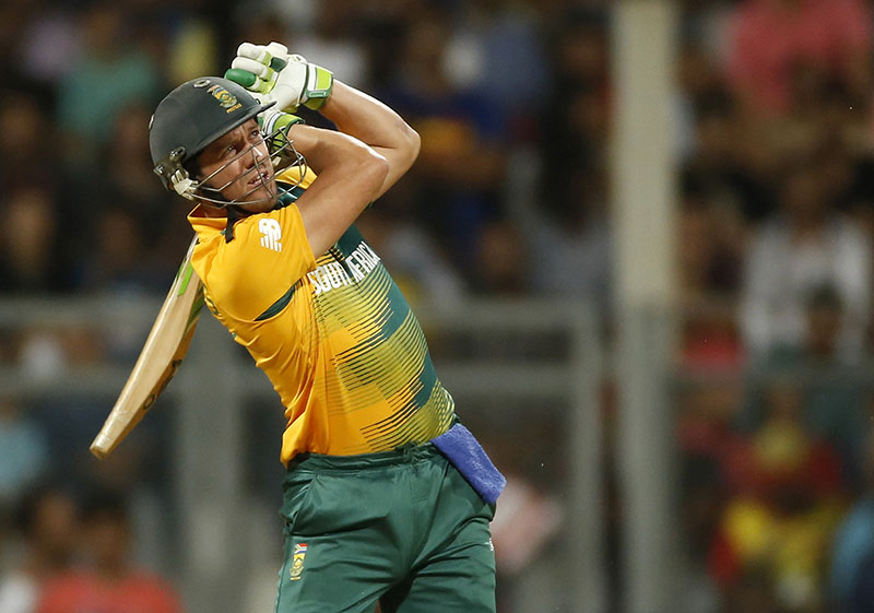 FILE - South Africa's AB de Villiers bats against England during their ICC World Twenty20 2016 cricket match at the Wankhede stadium in Mumbai, India, on Friday, March 18, 2016. Photo: AP