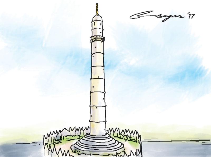 Dharahara. Illustration: Ratna Sagar Shrestha/THT