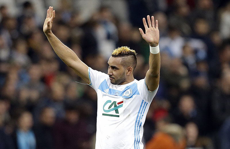 FILE - Marseille's forward Dimitri Payet celebrates at the end of the French Cup soccer match between Marseille and Lyon, at the Velodrome Stadium, in Marseille, southern France, on Tuesday, January 31, 2017. Photo: AP