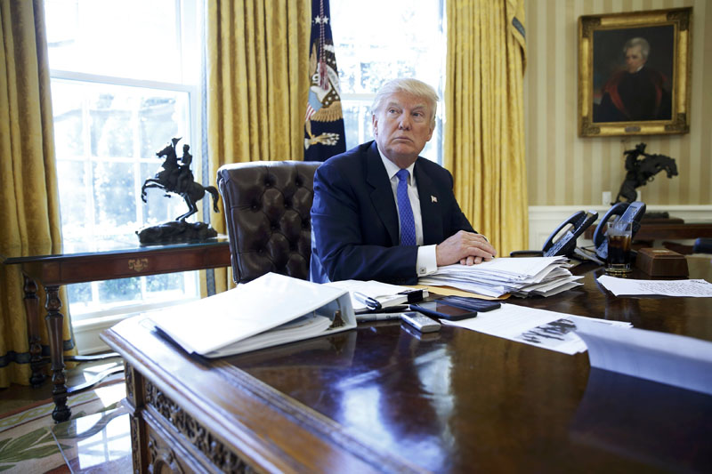 US President Donald Trump is interviewed by Reuters in the Oval Office at the White House in Washington, US, on February 23, 2017. Photo: Reuters