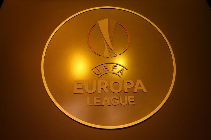The UEFA Europa League logo is seen before the draw ceremony  is seen before the draw for the 2016/2017 UEFA Europa League soccer competition at Monaco's Grimaldi Forum in Monaco, August 26, 2016.    REUTERS/Eric Gaillard