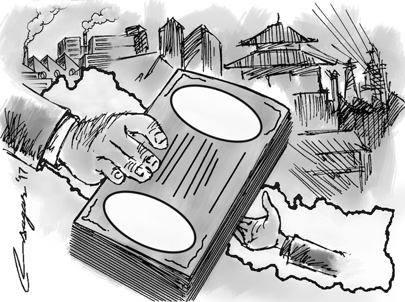 Foreign Aid. Illustration: Ratna Sagar Shrestha/THT
