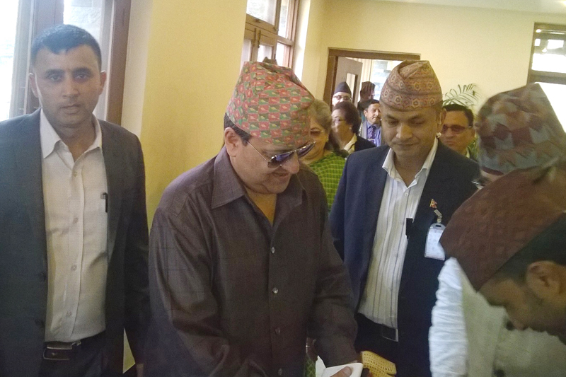 Locals welcome Former King Gyanendra Shah at a Garden Resort in Bharatpur, Chitwan on Friday, February 17, 2017. Photo: Tilak Ram Rimal