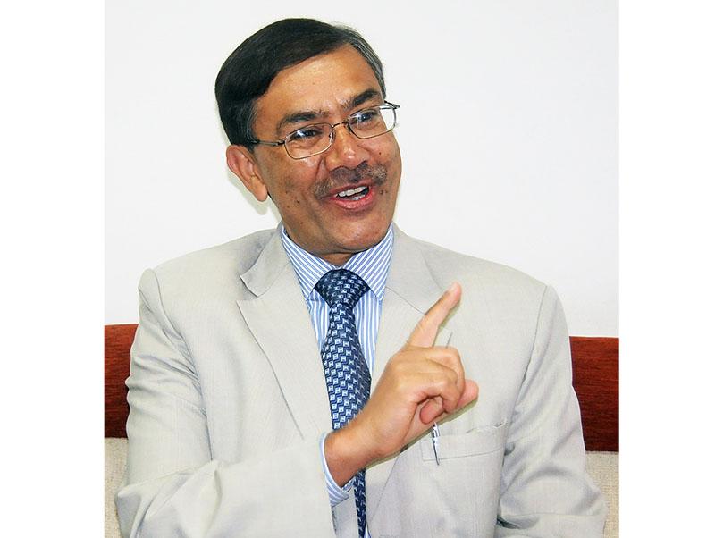 Interview with Hari Bhakta Sharma, the President of CNI, at Hattisar in Kathmandu, on Sunday, February 12, 2017.  Photo: Balkrishna Thapa Chhetri/THT