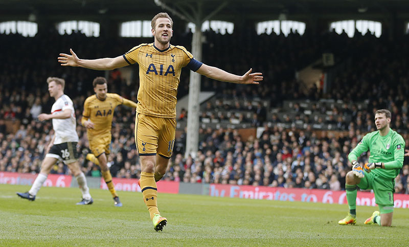 Tottenham Hotspur's Harry Kane celebrates after scoring his side's third goal during the English FA Cup soccer match between Fulham and Tottenham Hotspur at Craven Cottage stadium in London, on Sunday, February 19, 2017. Photo: AP