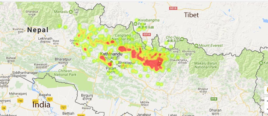 Heat map of epicentres of Nepal earthquake sequence since April 25, 2015