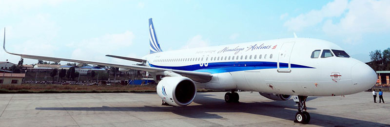 Himalaya Airlines' Airbus 320- 214, with Nepal Registration no. 9N-ALV. Photo courtesy: Himalaya Airlines