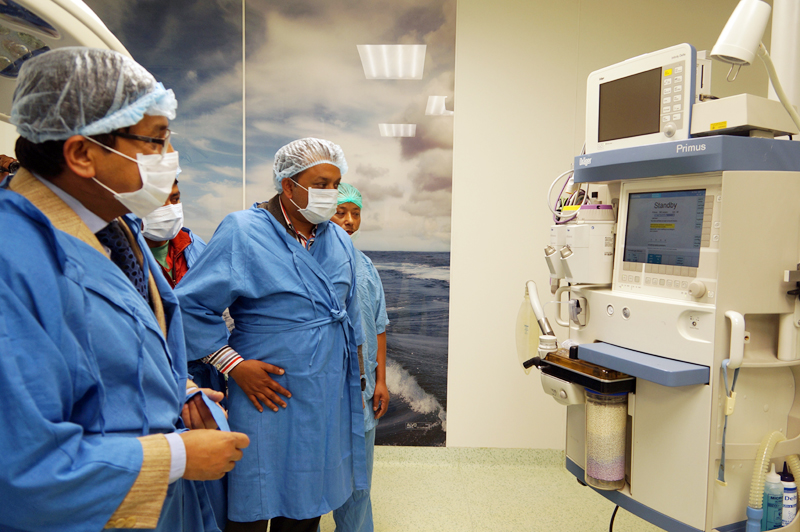 Minister for Health Gagan Thapa observes a newly installed higly sophisticated Modular Operation Theater at the Human Organ Transplantation Centre in Bhaktapur, on Friday, February 17, 2017. Photo: RSS