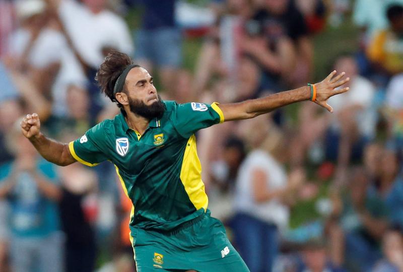 South Africau00d5s bowler Imran Tahir celebrates. Photo: Reuters