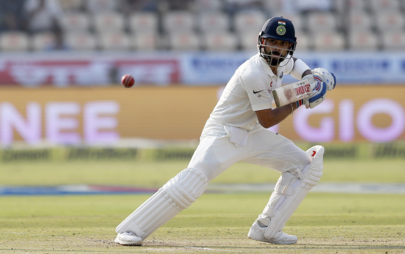 India's captain Virat Kohli plays a shot during the first day of the test cricket match against Bangladesh in Hyderabad, India, Thursday, Feb. 9, 2017. (AP Photo/Aijaz Rahi)