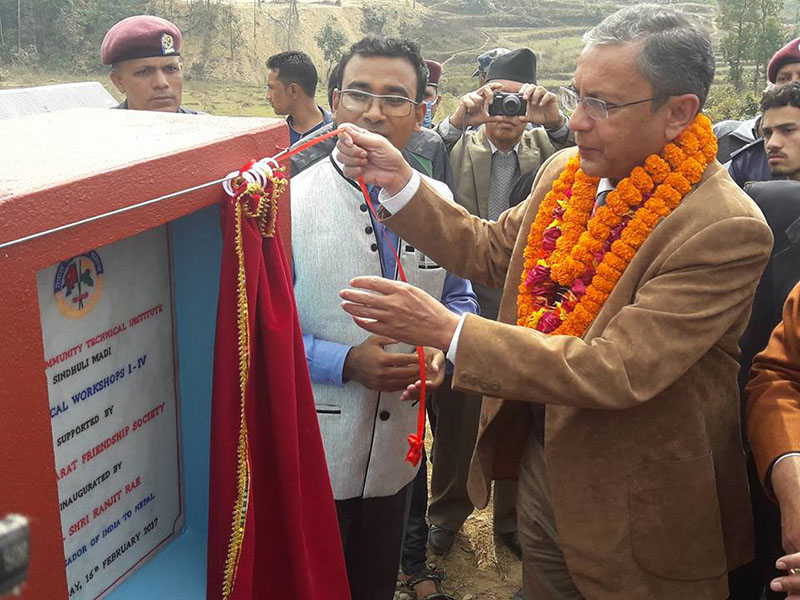 Indian Ambassador to Nepal Ranjit Rae inaugurating the newly constructed Sindhuli Community Technical Institute building, in Sindhulimadi, on Thursday, February 16, 2017. Photo: THT