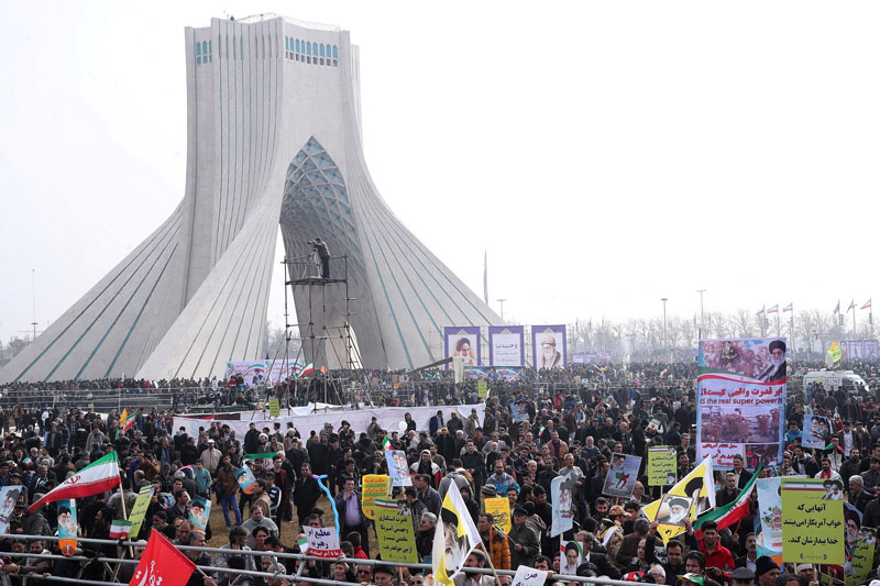 Iranians take part in a ceremony marking the anniversary of Iran's 1979 Islamic Revolution, in Tehran, Iran February 10, 2017. Photo: Reuters