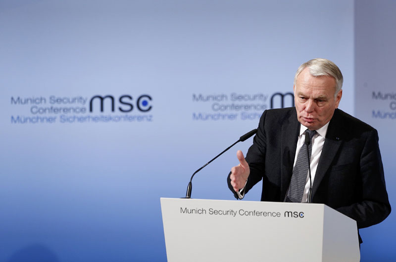 France's Foreign Minister Jean-Marc Ayrault delivers his speech during the 53rd Munich Security Conference in Munich, Germany, on February 18, 2017. Photo: Reuters