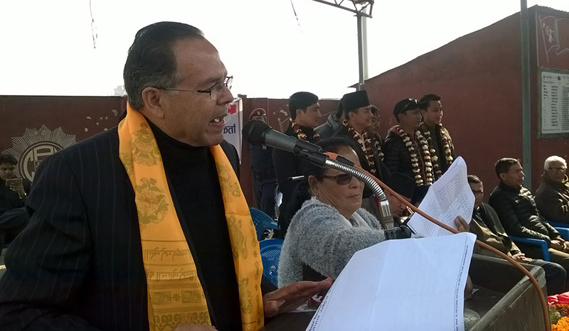 Senior CPN-UML leader Jhalanath Khanal speaking at a programme organised by his party in Madannagar of Bharatpur, in Chitwan, on Sunday, February 5, 2017. Photo: THT