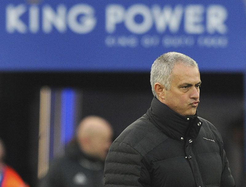 Manchester United manager Jose Mourinho stands on the pitch before the English Premier League soccer match between Leicester City and Manchester United at the King Power Stadium in Leicester, England, on Sunday, February 5, 2017. Photo: AP