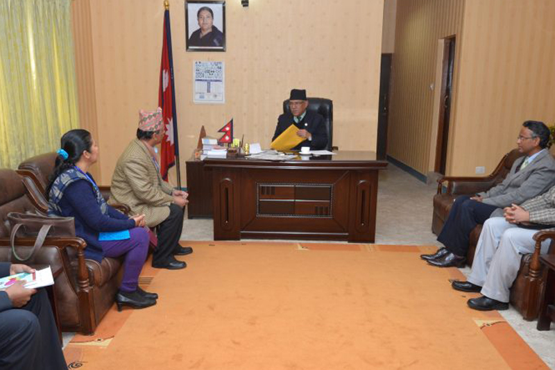 Officials of the Karnali Development Commission hold a meeting with Prime Minister Pushpa Kamal Dahal to present him an outline of 10-year master plan for Karnali development, in Kathmandu, on Friday, February 3, 2017. Photo: PM's Secretariat