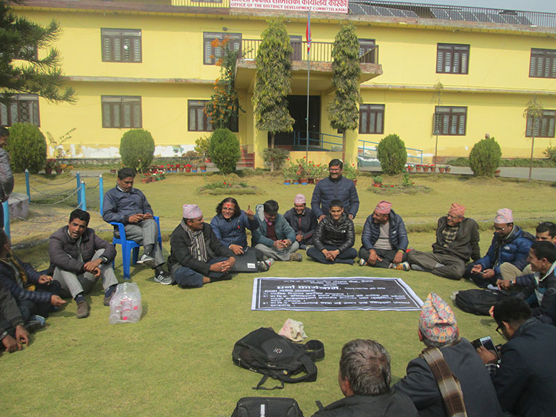 Secretaries of 32 Kaski VDCs staging a sit-in demanding incentives on the premises of District Development Committee office, in Pokhara, on Thursday, February 2, 2017. Photo: THT
