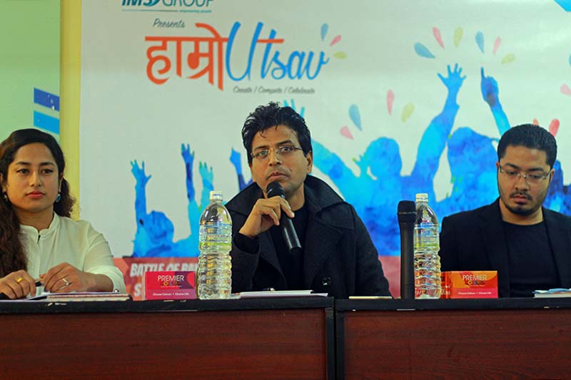 Officials of the King's College brief the media about the inter-college business competition, Hamro Utsav, in Kathmandu, on Sunday, February 26, 2017. Photo Courtesy: King's College